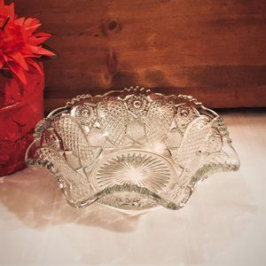 Pressed Clear Glass Centerpiece Fruit Bowl